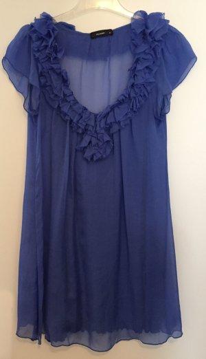 Seidenkleid mit Rüschenausschnitt von Hallhuber in blau