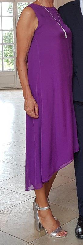Hallhuber Jurk met langere achterkant lila-bruin-paars Zijde