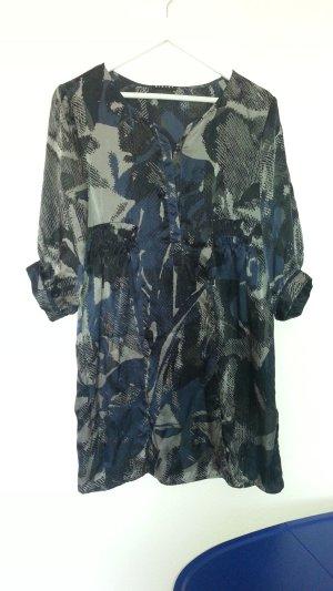 Seidenkleid von SISLEY schöne Farben in Blaugrautönen Gr. 38 - 40