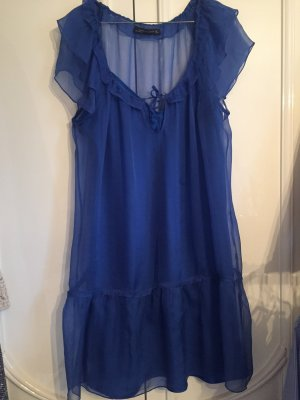 Zara Vestido de manga corta azul