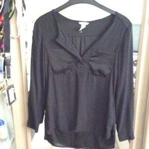 Seidenoptik Bluse mit V Ausschnitt und Taschen