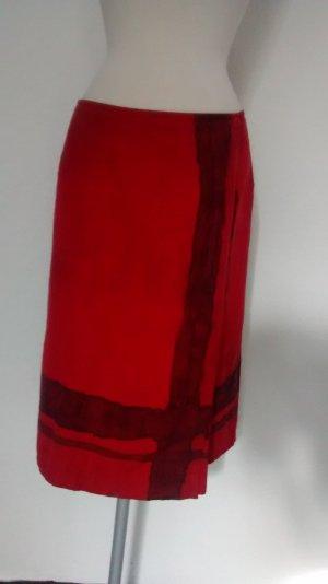 Seidenrock Leinenrock Wickelrock Gr. 36 UK 10 White rot schwarz  Rock knielang