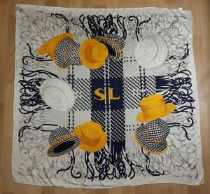 Écharpe en soie bleu-orange clair soie