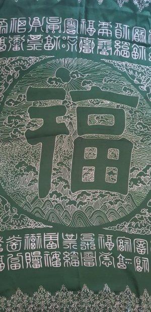 Écharpe en soie blanc-vert