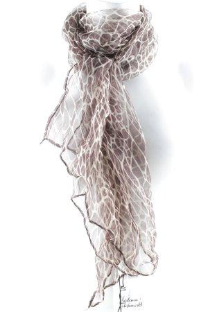 Zijden sjaal beige-bruin dierenprint casual uitstraling