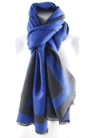 Écharpe en soie bleu-gris anthracite style décontracté