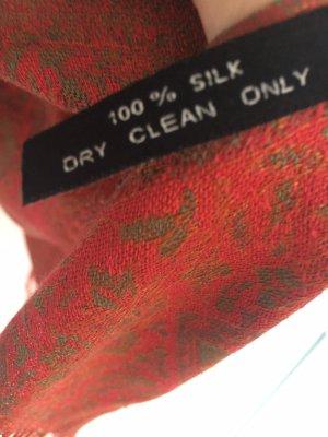 Bufanda de seda caqui-rojo oscuro