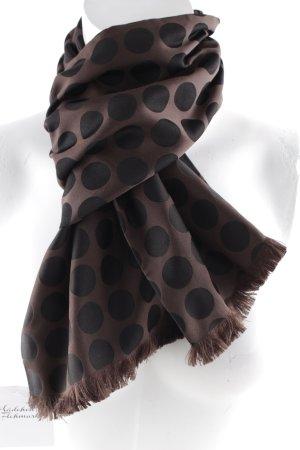 Zijden sjaal grijs-bruin-zwart bruin gestippeld patroon zakelijke stijl