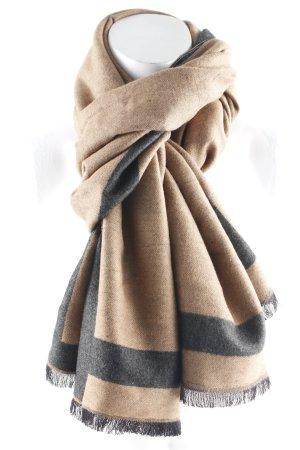 Écharpe en soie marron clair-gris anthracite style décontracté