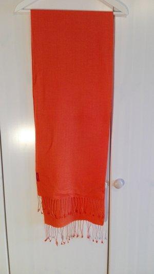 Seidenschal mit Woolanteil, orange, mit Fransenborte