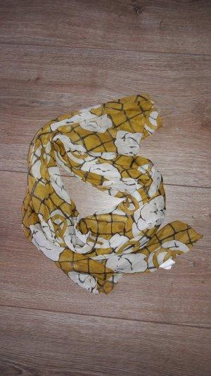 Bufanda de seda blanco-naranja dorado