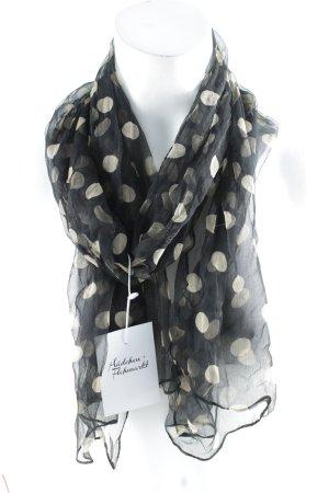 Zijden sjaal zwart-beige gestippeld patroon casual uitstraling