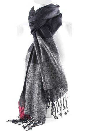 Écharpe en soie noir-gris motif paisley élégant