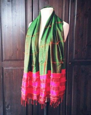 Zijden sjaal framboosrood-bos Groen
