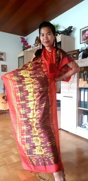 Zijden sjaal neonoranje-rood