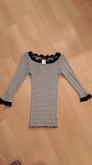 Rosemunde Ribbed Shirt black-natural white