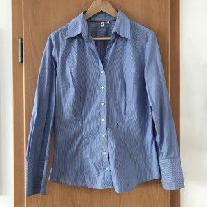 Seidensticker Bluse Business hellblau weiß gestreift Gr.40 100% Baumwolle