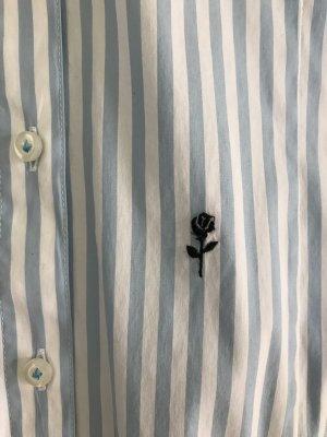 Seidensticker Chemisier body blanc-bleu azur coton