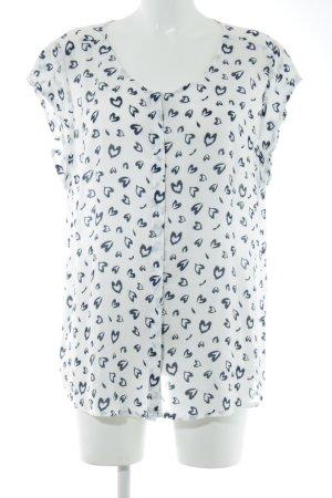 Seidensticker Kurzarm-Bluse weiß-schwarz Allover-Druck Casual-Look