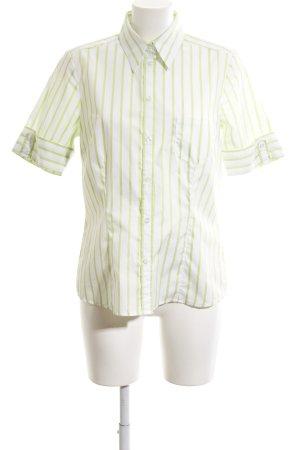 Seidensticker Kurzarm-Bluse weiß-grün Streifenmuster Casual-Look