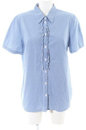 Seidensticker Kurzarm-Bluse blau-weiß Karomuster Casual-Look