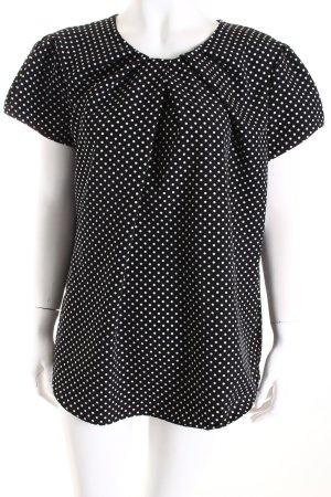 Seidensticker Kurzarm-Bluse schwarz-weiß Punktemuster klassischer Stil