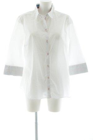 Seidensticker Kurzarm-Bluse weiß-magenta Business-Look