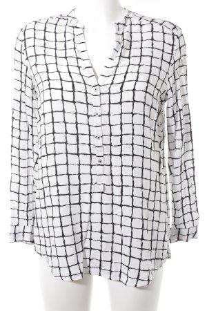 Seidensticker Langarm-Bluse schwarz-weiß abstraktes Muster schlichter Stil