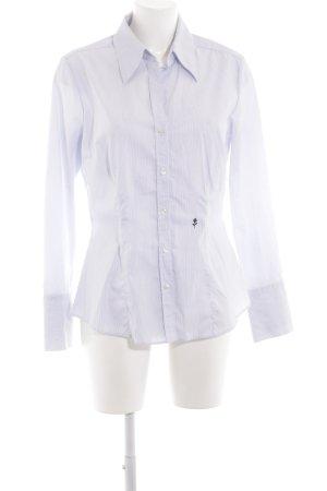 Seidensticker Langarm-Bluse weiß-stahlblau Streifenmuster Business-Look