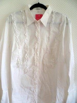 Seidensticker Ruffled Blouse white cotton