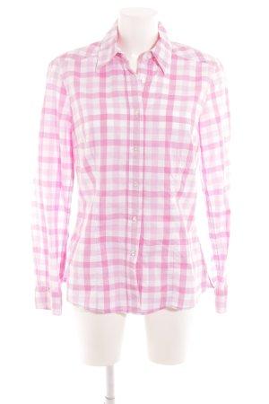 Seidensticker Langarmhemd weiß-rosa Karomuster Casual-Look