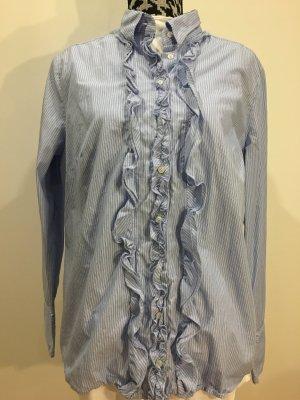 SEIDENSTICKER Schwarze Rose Bluse mit Rüschen gestreift hellblau, Gr. 46, NEU und ungetragen