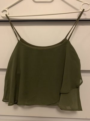 Bershka Silk Top khaki