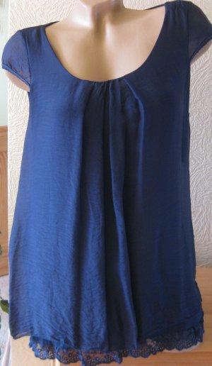 Blouse en soie bleu soie