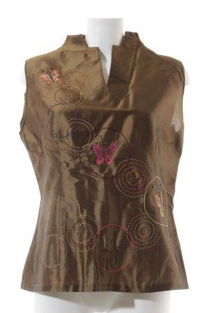 Haut en soie cognac-doré motif d'art style extravagant