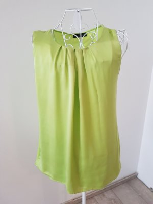Hallhuber Top in seta giallo lime