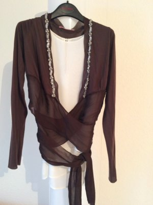 Velvet Wraparound Blouse brown silk