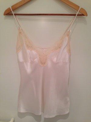 Seidentop mit Spitze in creme/nude von H&M in Größe 36