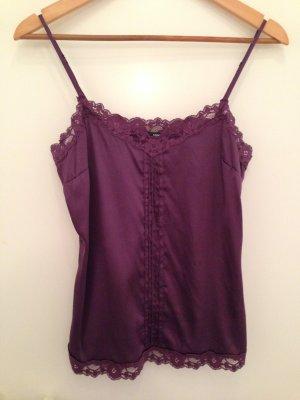 Seidentop mit Spitze in purpur/violett von H&M in Größe 38