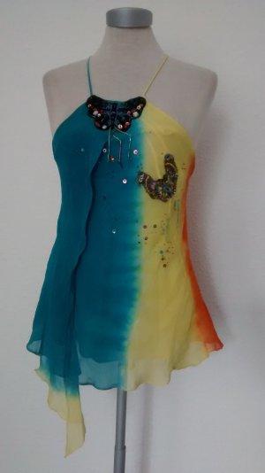 Seidentop Top Seide Oberteil Karen Millen batik Gr. UK 12 EUR 40 + Pailletten