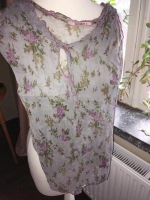 Seidentop von Tandem in zartem Pastel grau / rosa mit Blumen