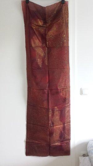 Zijden sjaal goud-karmijn