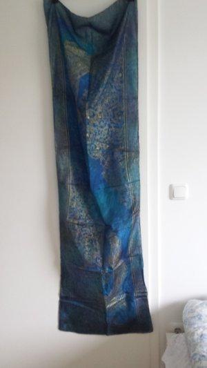 Zijden sjaal goud-blauw