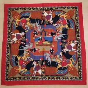 Seidentuch 1001 Nacht Oriental-Druck 100% Seide Vintage 84x84 cm