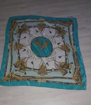 Zijden doek licht beige-turkoois