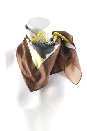 Foulard en soie brun-jaune imprimé abstrait style décontracté