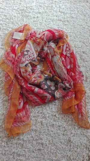 Silk Scarf orange-pink silk
