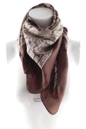 Foulard en soie brun foncé-beige imprimé abstrait élégant