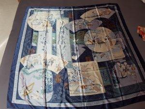 Bufanda de seda azul celeste-azul acero