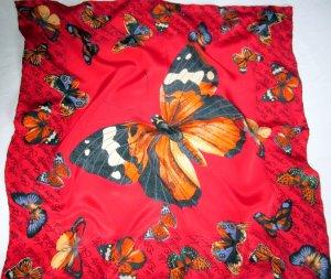 Seidentuch Tuch Halstuch Scarf Schal 100% Seide Fauna Aninal Print Schmetterlinge Schmetterling rot ocker blau weiß braun bunt
